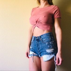 🌻 Bundle! Crop top pink shirt sleeves small
